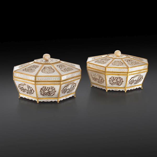 22. Pair of Chinese Gilt Metal Mounted Mother of Pearl Boxes and Covers