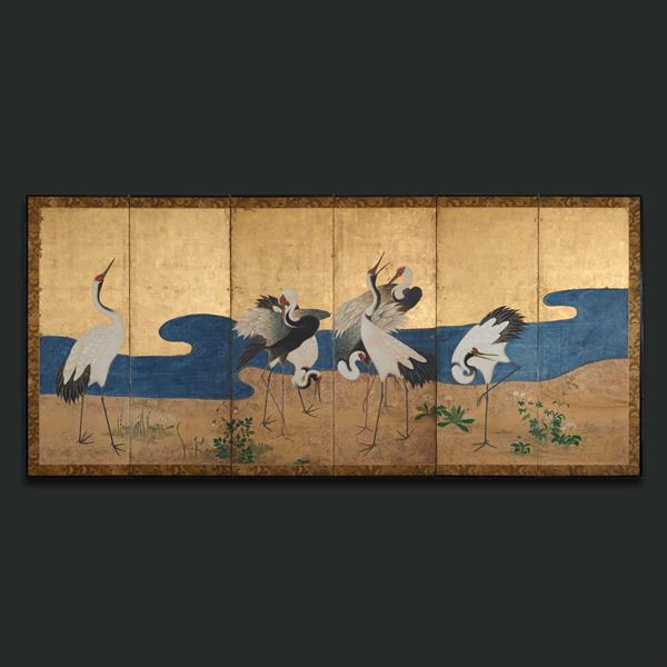 23. A six fold gold leaf screen with cranes